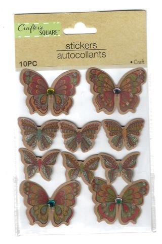 Crafter's Square Butterfly Stickers 3D COLORFUL 10pcs