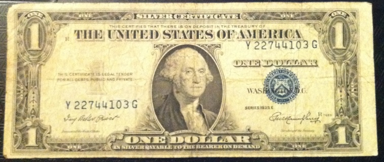 Free: 1935 E Silver Certificate Blue Seal ERROR Note Dollar Bill NO ...