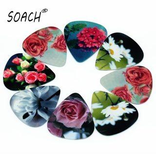 SOACH 10pcs 0.71mm Flowers two side earrings pick DIY design guitar accessrice pick guitar picks