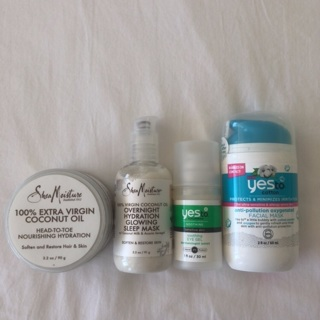 NEW Shea Moisture Coconut Oil + Mask Yes To Cotton Mask + Cucumber Eye Gel • Free Shipping