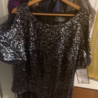 Brand New With Tag Sparkly Shimmer Black Alex Evening Sequin Top 2X Plus Size Formal Blouse