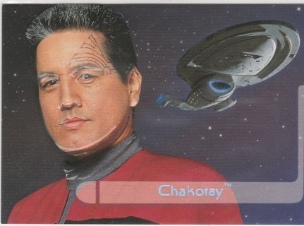 Star Trek Voyager 1995 ~ CHAKOTAY Embossed Holo-Foil Chase Card #d E2 of 9