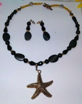 STAR FISH Black Opal Styled Necklace Choker & Tear Drop Earrings Set