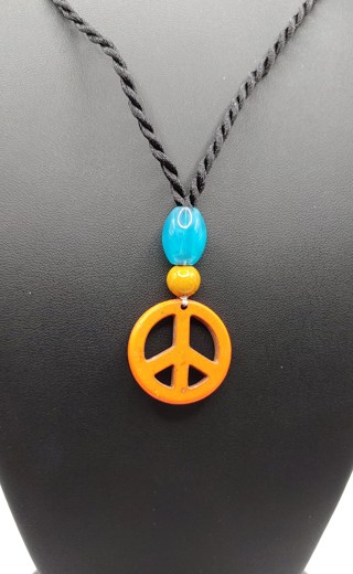 Real Stone and Beads Peace Sign Necklace