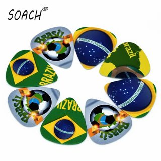 SOACH 10pcs 0.46mm guitar paddle PVC double-sided printing Brazilian icon mixed pattern plucked