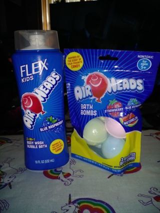 ❤✨❤BRAND NEW AIRHEADS® 3 in 1 BLUE RASPBERRY HAIR & BODY WASH +3 PACK OF MATCHING BATH BOMBS❤✨❤