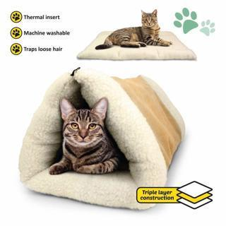 NEW PET PALACE 2-in-1 Pet Bed Snooze Tunnel & Mat Pets Cats Kittens Puppies Small Dogs Travel Home