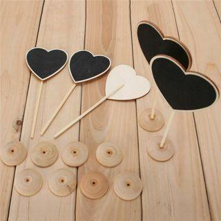 5Pcs Wooden Heart Blackboard Chalkboard Stands Message Board Wedding Table Decor