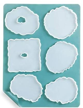 Geode Coaster Molds for Resin Casting, Booshow 6Pcs