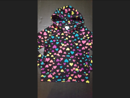 Place Girl's Size Medium (7/8) Black Fleece Hoodie with Multi Hearts! Great Condition!