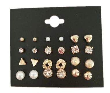 New Style Symbol Stud Earrings Set for Women Gift E1451 Black