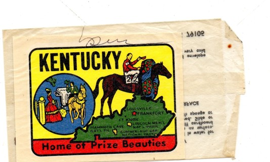 Vintage 1950's Impko Sticker/Decal: Kentucky, Home of Prize Beauties