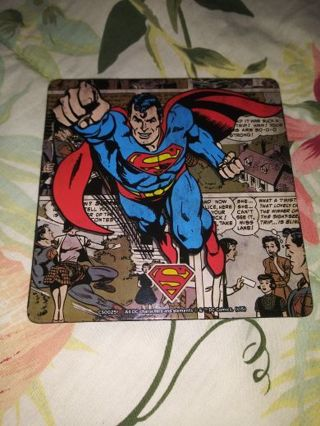 DC SUPERMAN WOODEN COASTER WITH CORK BACKING...NEW AND NEVER USED...FREE SHIPPING WITH TRACKING