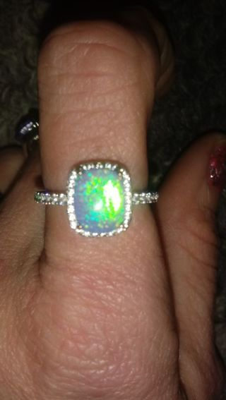 Beautiful Fire Opal Sterling Silver Ring