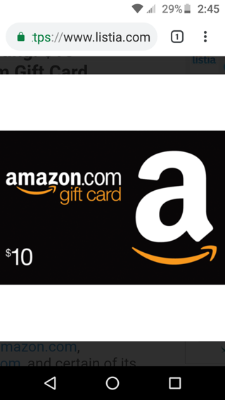 $10 gift card code to use on amazon.com