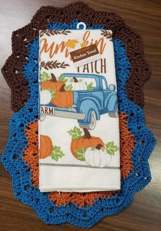 "Crochet 2 - 9"" Dish Cloth/Wash Cloths/1 Fall Dish Towel**LQQK**"