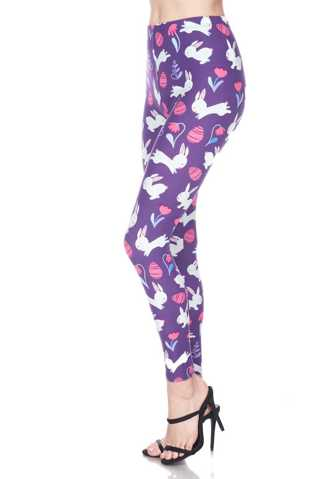 ONE SIZE PURPLE EASTER BUNNY LEGGINGS FULL LENGTH- BUTTERY SOFT SIZE 2-12 NEW FREE SHIPPING!