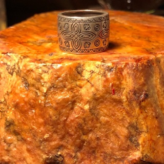 STERLING SILVER 925 ORNATE WIDE CIGAR BAND RING!