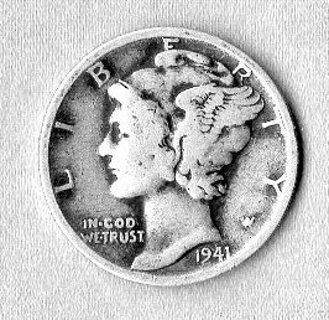1941 90% Silver Mercury Dime (D)