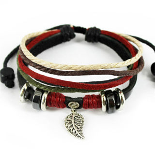 Handmade Leaf Black Leather Adjustable Bracelet Jewelry Cuff Women/Men`s Bangle