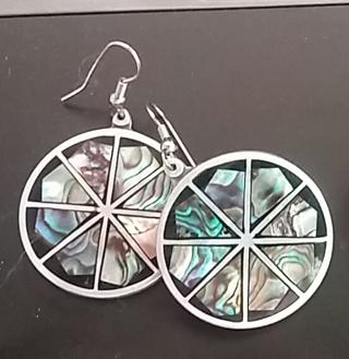Pretty silver-tone round pierced earrings w/ abalone shell
