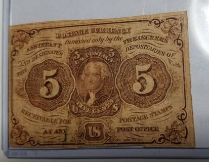 1862 Fractional Currency 5 Cents 1st Issue