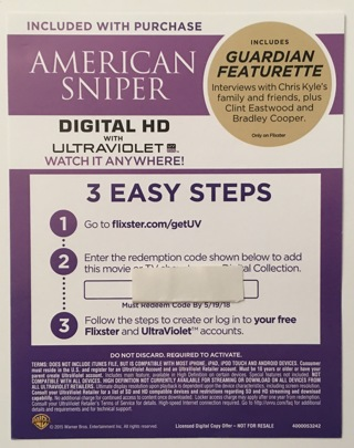 Free: American Sniper Digital HD Ultraviolet Download Movie