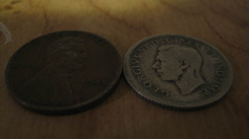 Free: 1943 Canadian Silver Dime and 1945 Wheat Penny - Coins