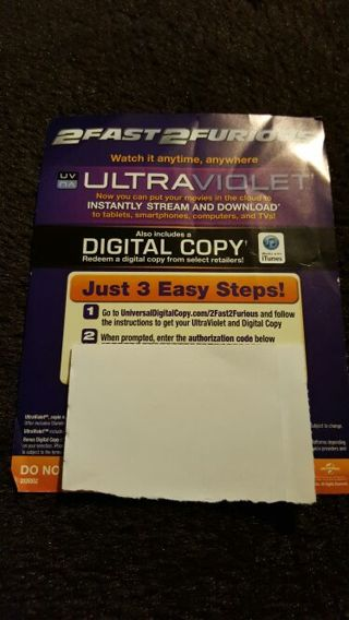 2Fast2Furious UV Digital Download