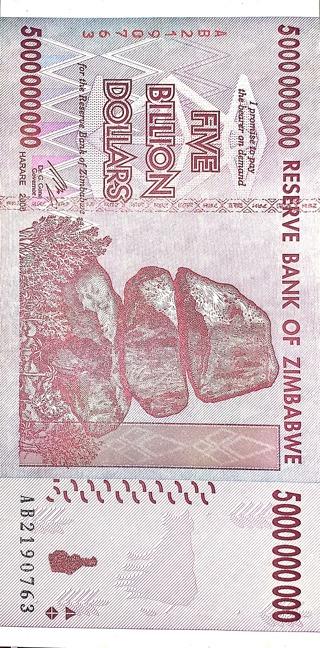5 BILLION DOLLARS NOTE FROM ZIMBABWE
