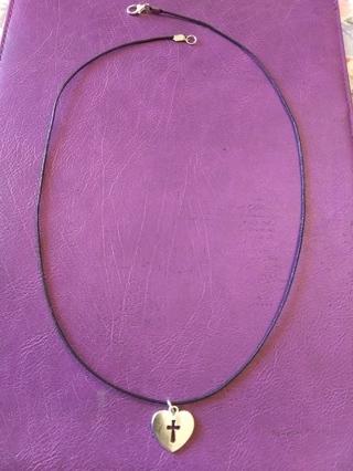 New! Tibetan silver heart cross necklace