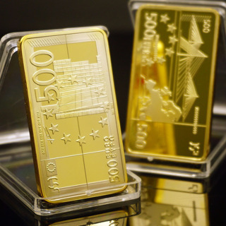 [GIN FOR FREE SHIPPING] European Gold Bar Gold Plated Metal Bars 500 Euro