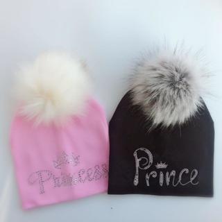 infant princess crown diamond embroidery flowers baby cotton  raccoon Faux Fur pompom diamond hat