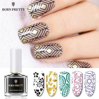 BORN PRETTY Black White Nail Stamping Polish Lacquer Gold Silver Nail Art Plate Stamp Oil White Ni