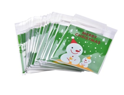 ❄️ Merry Christmas Green and Snowmen Medium Self Sealing Cello Bags 10 Count NEW ❄️