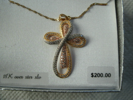 Gold over Sterling Silver Chain Cross Pendant Necklace