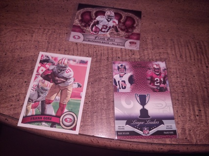 Three card lot  football veteran running back Frank Gore