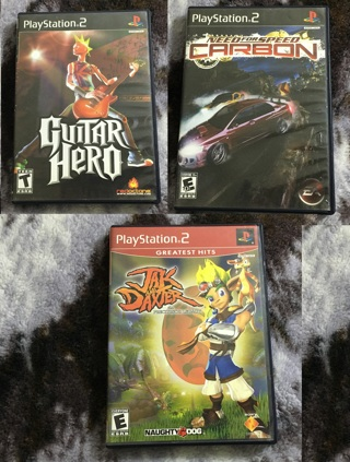 THREE PS2 VIDEO GAMES PLAYSTATION 2 GAME LOT NEED FOR SPEED JAK GUITAR HERO