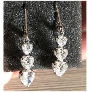 14KT White Gold Triple Heart CZ Drop Earrings