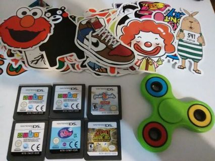 10 DAY TIERED MYSTERY TONS OF NEW STUFF FIDGET SPINNER VINYL STICKERS NINTENDO DS GAMES