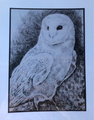 "Snow Owl - 5 x 7"" art card by artist Nina Struthers - GIN ONLY"