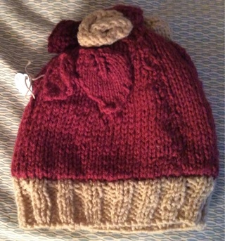 Wine Colored and Beige Hat and Glove Set
