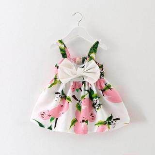 Baby Girl Floral Lemon Dress Newborn Toddler Bowknot Wedding Party Sundress 0-3Y
