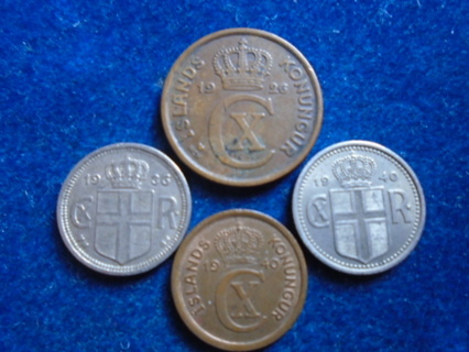 1926 1936 & 1940 ICELAND OLD COINS..FULL DATES!