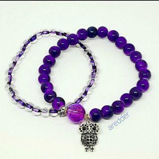 ♡◇ Purple Owl Beaded Stretch Charm Bracelet Set NEW ◇♡