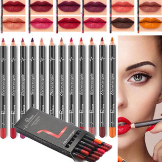 12 Pcs/set Lipstick Pen Waterproof Pencil Lip Liner Long Lasting Matte Makeup