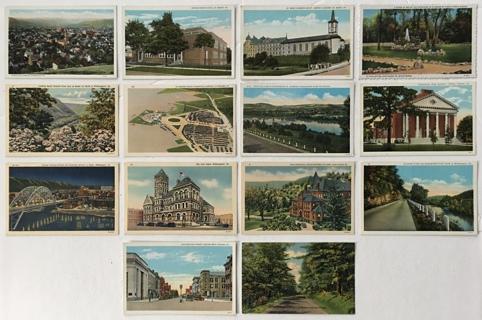 Pennsylvania Landmarks Linen/Litho Uncirculated Postcards Williamsport St. Marys Indiana Vtg Lot