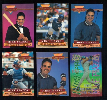 Free 1994 Mike Piazza Ultra Pro 6 Card Set 1993 Rookie Of
