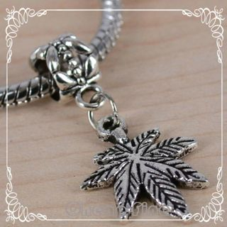 Pot Leaf Silver Marijauna Leaf Euro pandora style bead