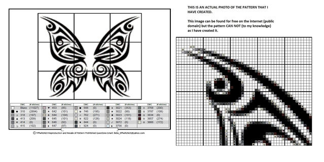 Butterfly Tribal Design Cross Stitch Pattern